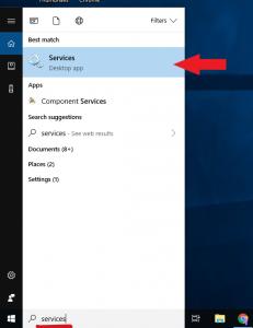 services desktop app on windows computer screen